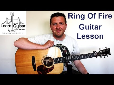 Johnny Cash - Ring Of Fire - Easy Acoustic Guitar Lesson - FREE TAB - Drue James