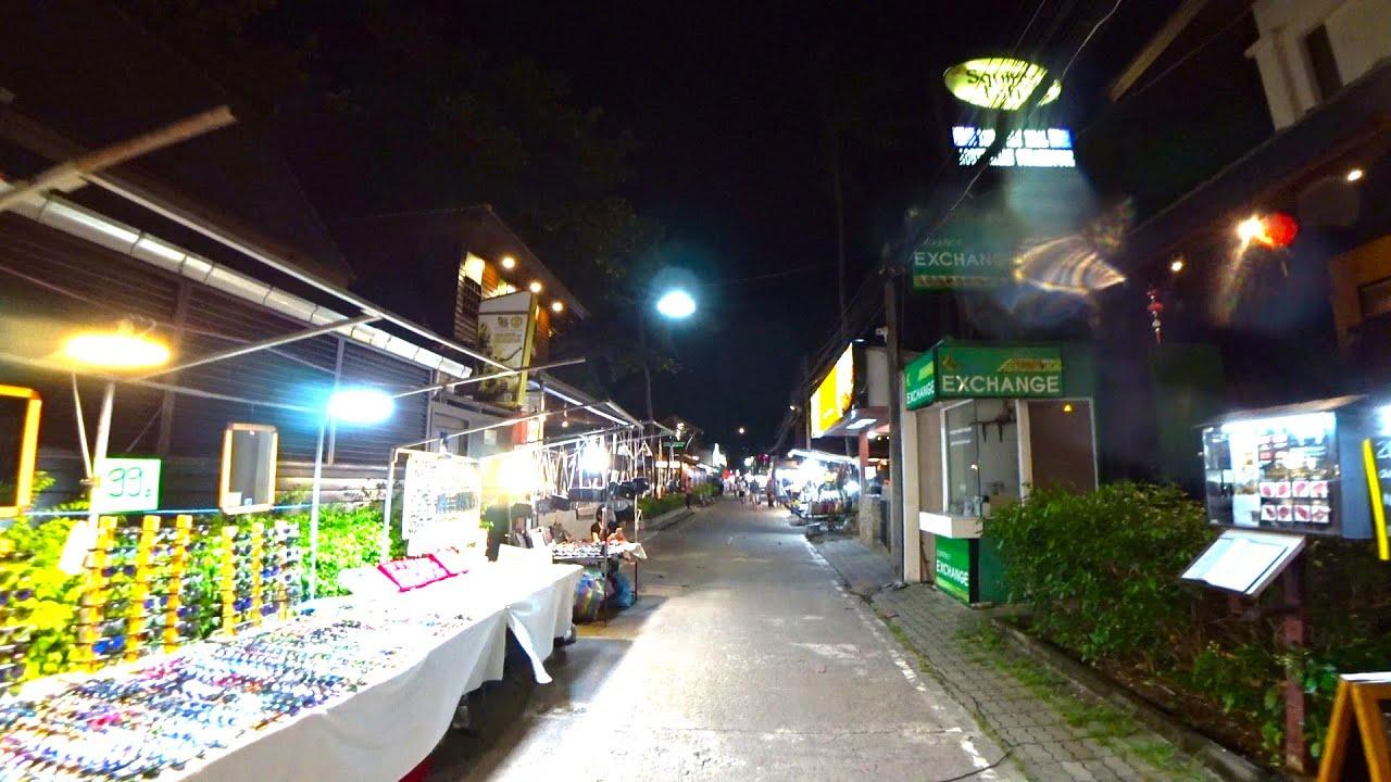 Virtual walking tour - Koh Samui Walking street Night time | Streets of Thailand 2020