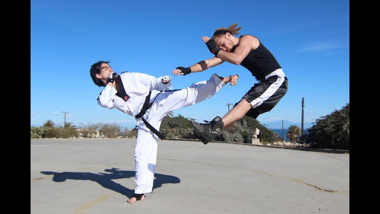 Boy Kick Girl Wallpaper Taekwondo Girl Vs Boxing Guy Street Fight Scene Youtube