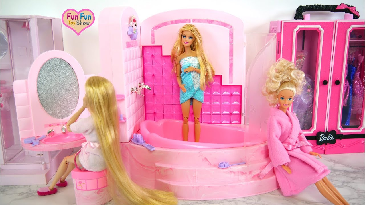 Barbie Badezimmer Set Barbie Bubbling Shower Bathroom Playset Unboxing Blasendusche Badezimmer Barbie Mandi Gelembung