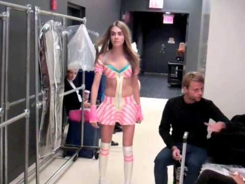 Cara Delevingne rollerskates at her Victoria's Secret ...