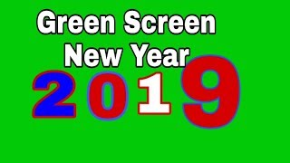 Happy new year 2019 of 3 animation green screen