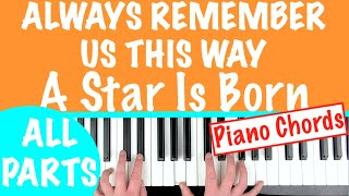 How to play 'ALWAYS REMEMBER US THIS WAY' - A Star Is Born (Lady Gaga)   Piano Chords Tutorial