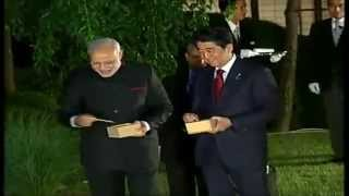 PM Modi & Japan PM Abe, fish feeding at State Guest House, in Kyoto, Japan