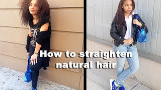 How to Straighten Natural Hair Tutorial | No Heat Damage!!