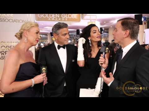 George Clooney and Amal Clooney - HFPA Red Carpet Interview - Golden Globes 2015