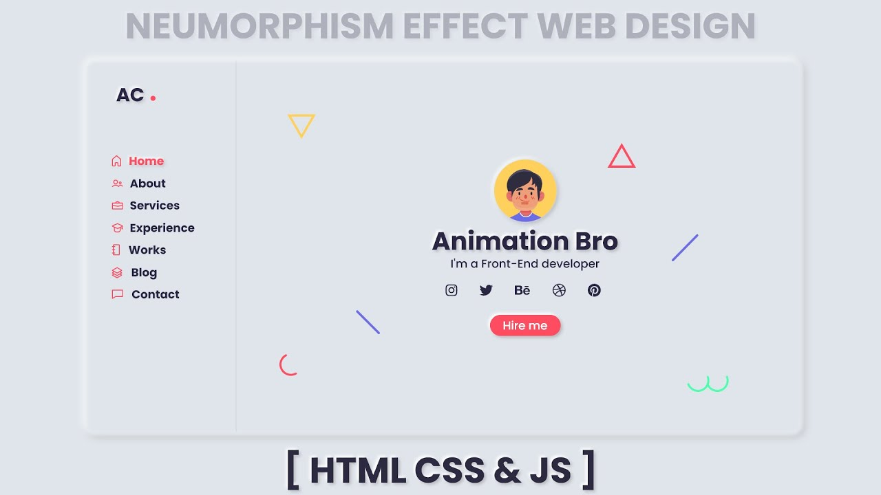 Neumorphism Website Design Using HTML, CSS AND JAVASCRIPT
