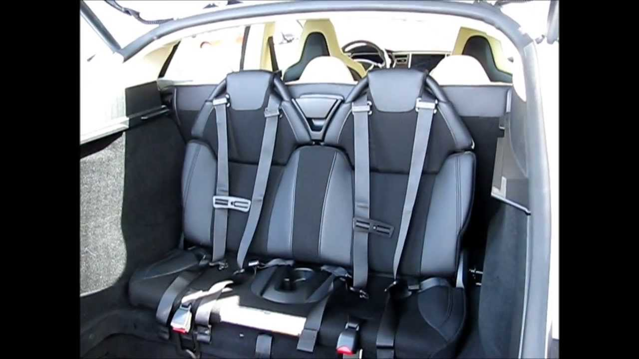 How To Fold Down Tesla Model S Jump Seats Demonstration