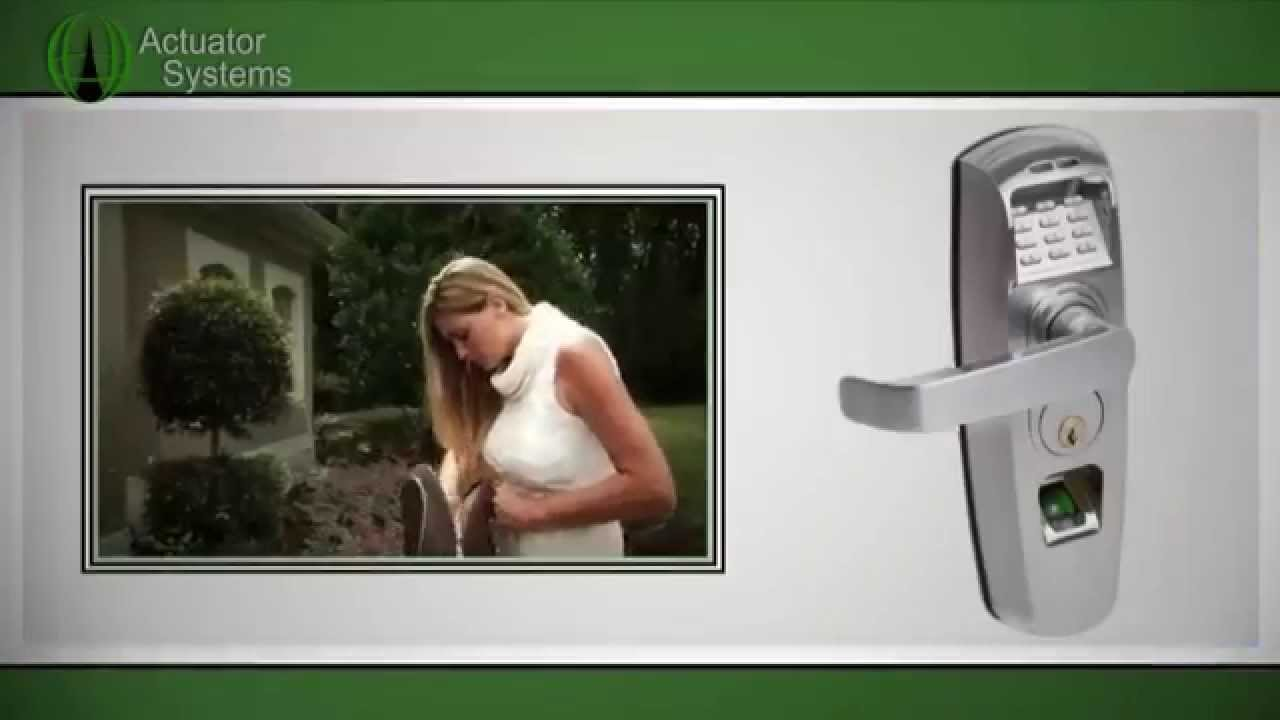 Biometric Fingerprint Reader Scanner Keyless Entry Push Handle Door