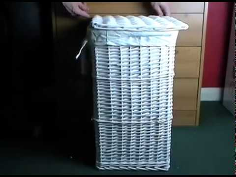 WoodLuv Large Rectangular Laundry Linen Wicker Basket with Hinged Lid, White