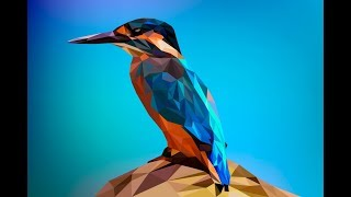 Kingfisher in low poly style