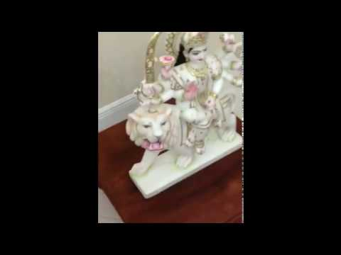 Marble Durga statue installed in Florida, USA - www.marblestatue.in