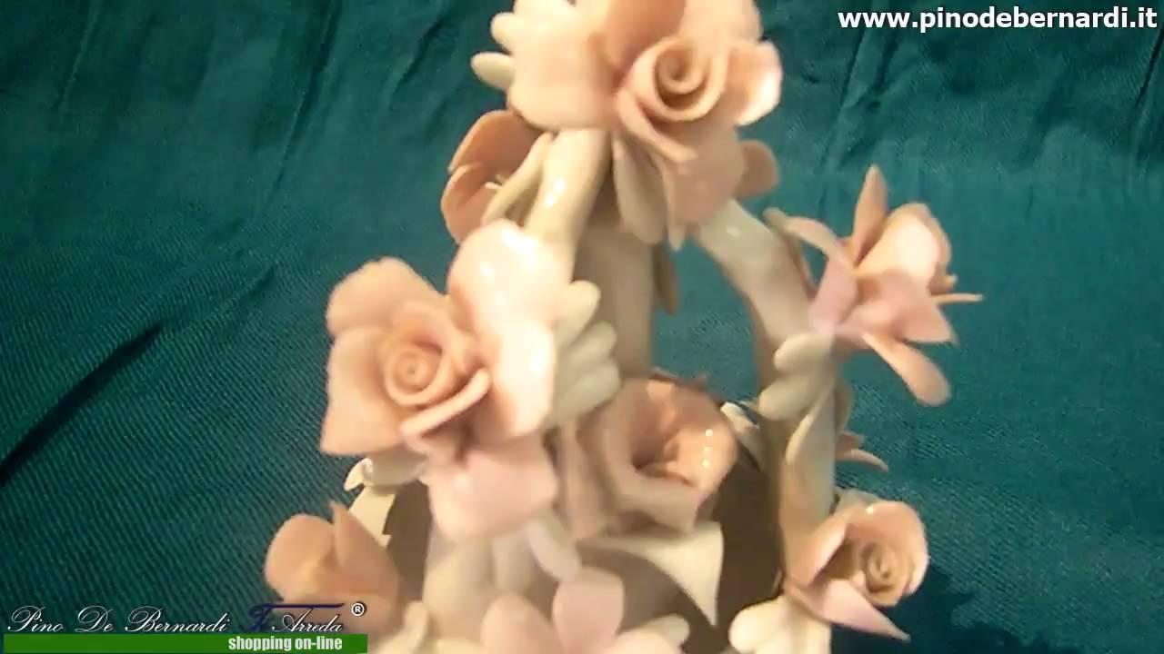 Oggettistica in ceramica porcellana - cestino con fiori a piramide -  Prodotto venduto 3e53b0ab9481
