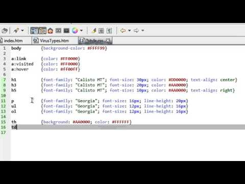 HTML Tutorial 7 Of 7:  Cascading Style Sheets Part 2