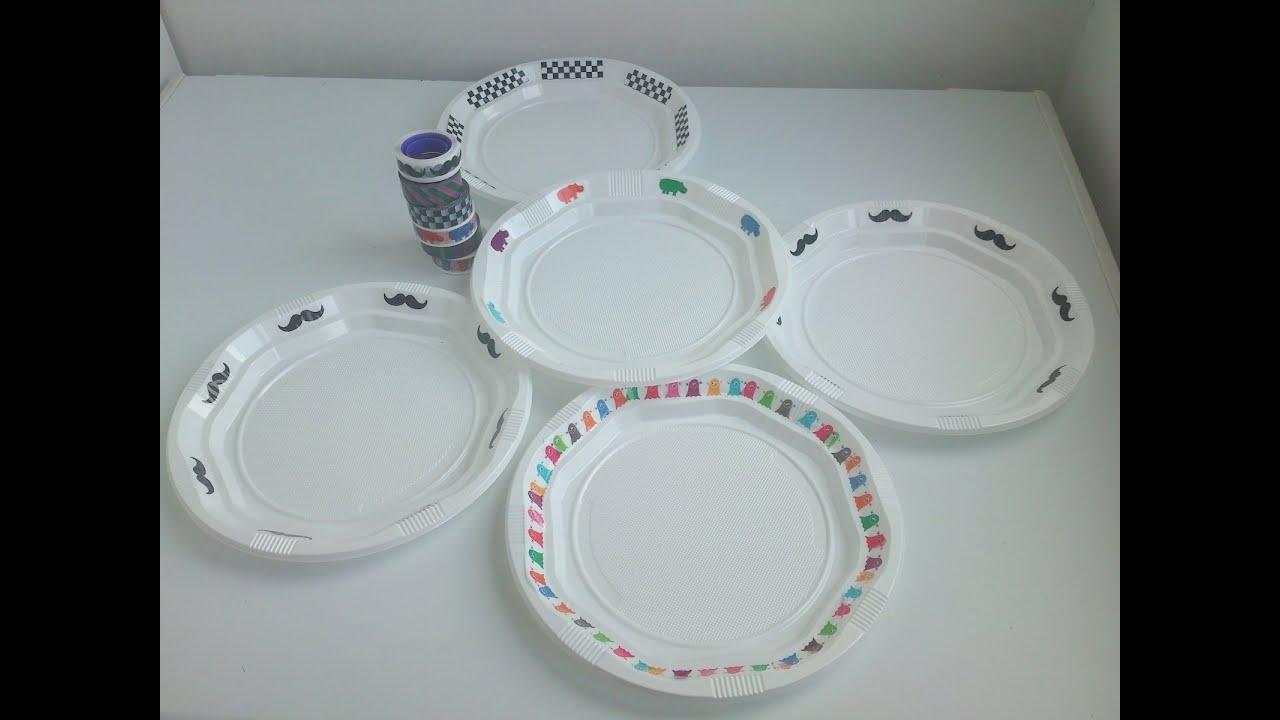 C mo personalizar platos de pl stico con washi tap - Manualidades con vasos de plastico ...