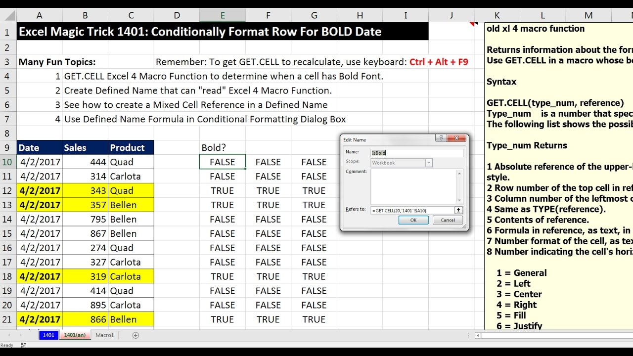 Excel Magic Trick 1401: Conditionally Format Row For BOLD Date