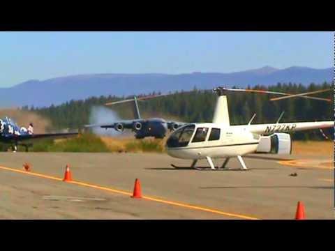 C-17 Globemaster III landing at Lake Tahoe Intl. Airport.