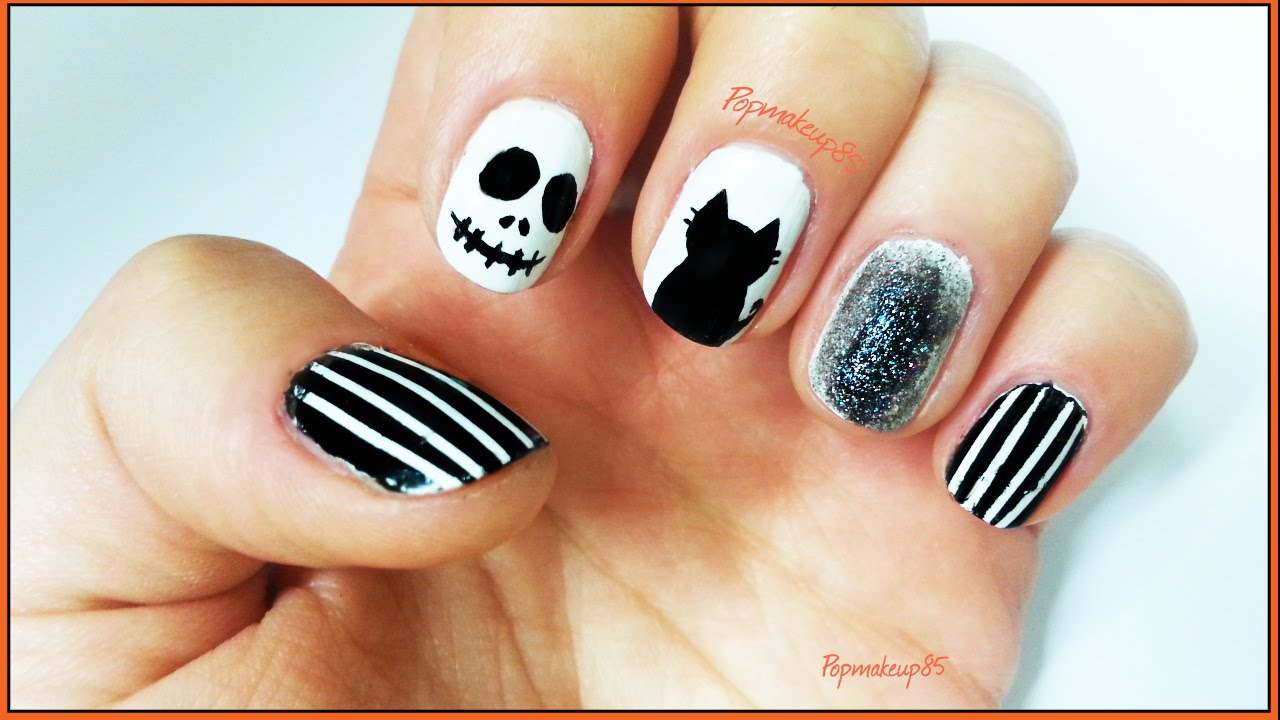 Super Nail art halloween facili con Jack Skeletron e gatto nero, anche  JA11