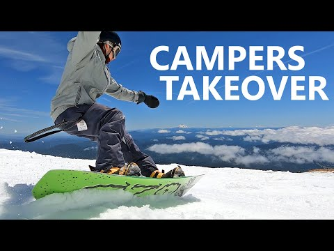Campers Takeover Summer Snowboarding at High Cascade