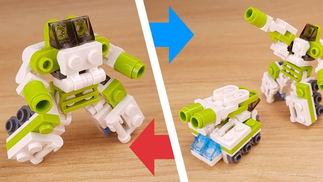 [LEGO Mini Robot Tutorial] Double Cannons Tank Transformer Mech - Tank Boy
