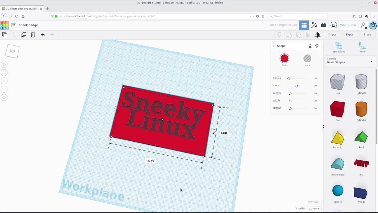 3-D Printing In Linux   Make Your Own In Tinkercad  Let's Print