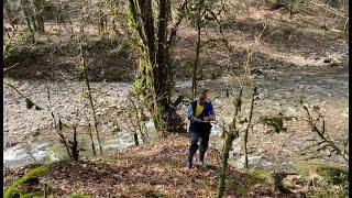 Рыбалка на реке в цветущем лесу Сочи
