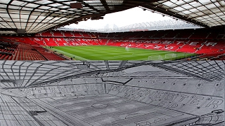 PENCIL DRAWING : Old Trafford (Man Utd Stadium)