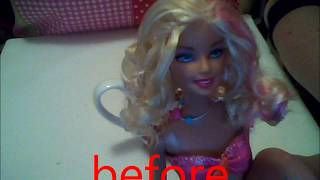 how to straighten barbie doll hair