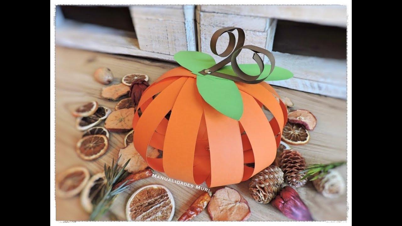 Como Hacer Una Calabaza De Papel O Cartulina Diy Halloween - Calabaza-de-papel