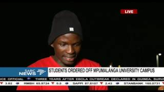 Students ordered off Mpumalanga university campus