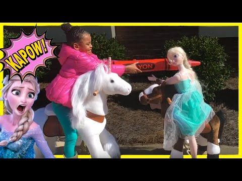 Kids Playing Outside Games On Unicorn & Pony Ride-on Toy with  Doll at the Playground
