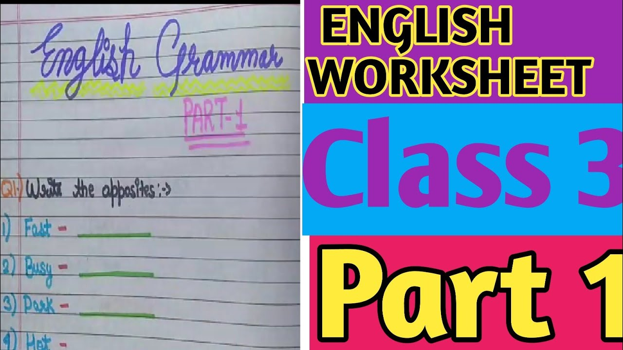 small resolution of English Worksheet for Grade 3   Grammar worksheet for solutions   English  for Class 3 - YouTube