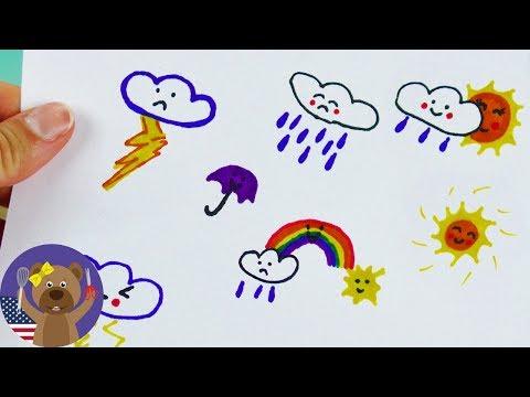 Weather Symbols Kawaii Style | Draw it Yourself!