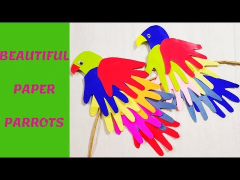 DIY PAPER PARROT CRAFT TWIRLING PAPER PARROT CRAFT  COLORFUL FEATHER PARROT HOW TO MAKE PAPER PARROT