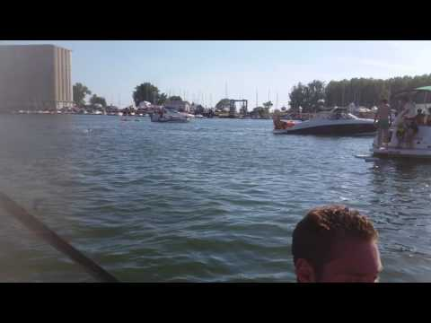 R/C beer boat at canalside for Kerfuffle!