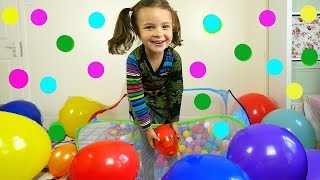learn color for toddlers in the balloon ball pit colour with surprise eggs and balloons
