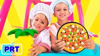 Vlad e Nikita jogam em um restaurante e entregam pratos de brinquedo