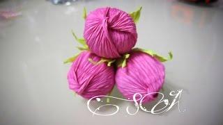роза - орешек из гофрированной бумаги с конфеткой