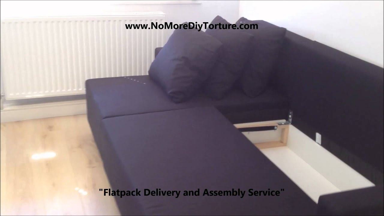 Sofabett ikea  IKEA Lugnvik Corner sofa-bed with storage - YouTube