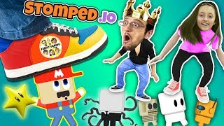 FGTEEV STOMPS on LITTLE PEOPLE Super Mario Wario King Daddy Daughter Destruction Duo in STOMPED.io