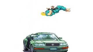 """[GIF] Ken Character Destroys The Car from Street Fighter II """"Perfect Bonus Stage"""" Sprite Animation"""