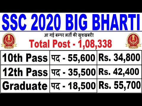 GOOD NEWS : SSC 2020 BIG RECRUITMENT 108338 POST || LATEST GOVT JOBS 2019-20 || UPCOMING GOVT JOBS