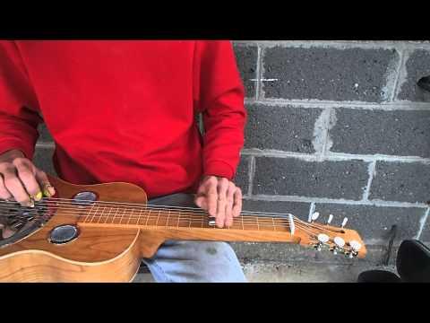 Handmade cherry squareneck resonator guitar made by Zachary Hoyt