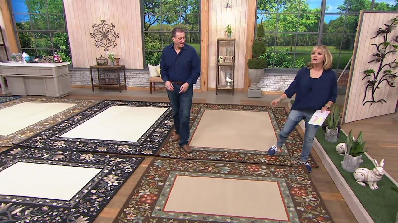 veranda living floral border indoor outdoor rug on qvc