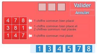 Test 1, Exercice 1 Les carrés logiques/Mastermind