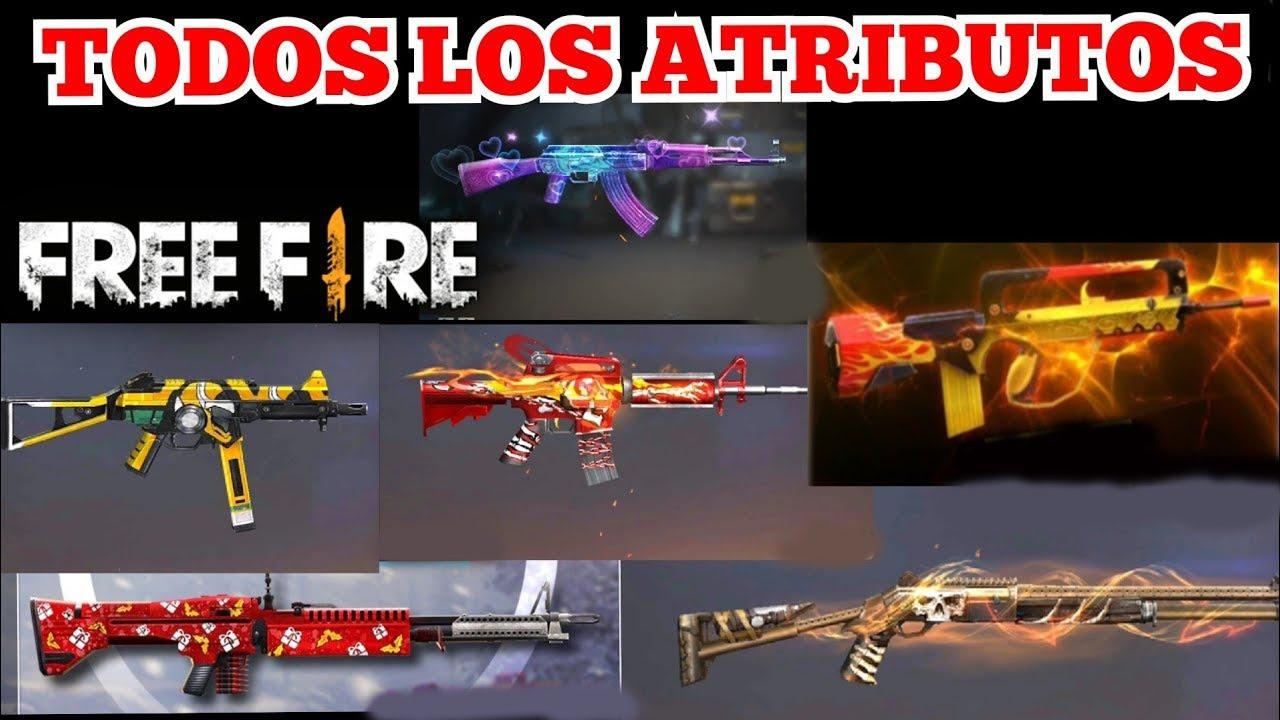 Todos los atributos de las armas del evento *Armas Gratis* de Free Fire
