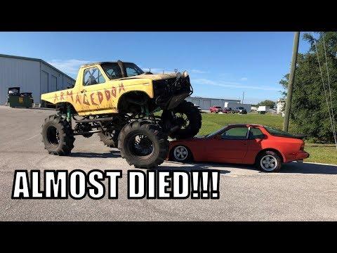 THOTTLE STUCK WIDE OPEN ON MUD TRUCK!!  PORSCHE 944 DIES....