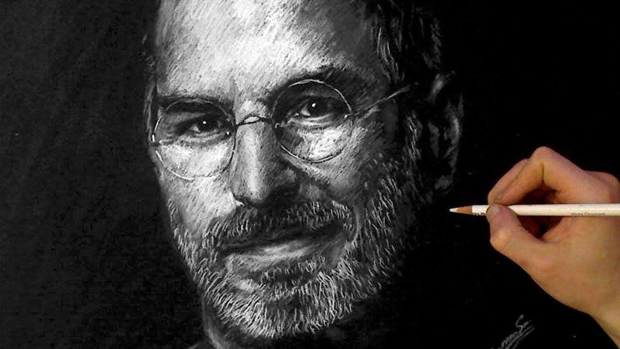 STEVE JOBS White charcoal Portrait  ThePortraitArt  YouTube
