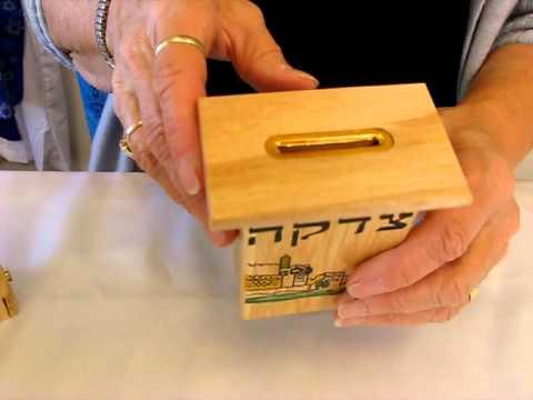 Wooden Tzedakah Boxes / Charity Boxes