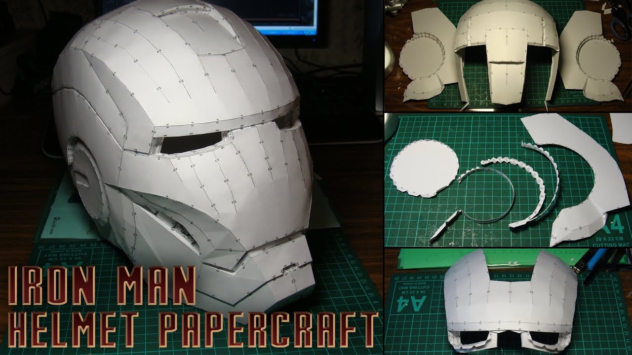Iron Man Helmet Papercraft (Stop-motion assembly) - YouTube